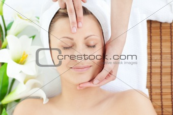 Adorable woman having a massage