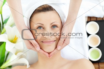Bright woman having a massage
