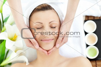 Brilliant woman having a massage