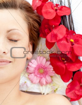 Attractive female having a massage
