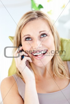 Animated caucasian woman talking on phone