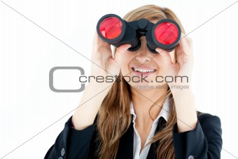 Animated businesswoman looking through binoculars