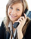 Portrait of a beautiful businesswoman talking on phone