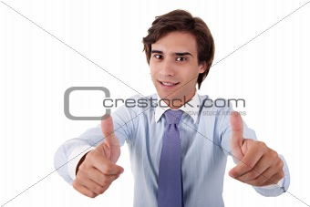 young businessman giving consent, with thumb up