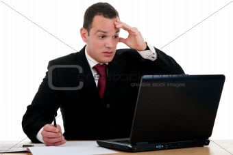 businessman  surprised looking to computer