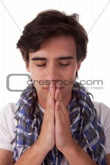 praying young man