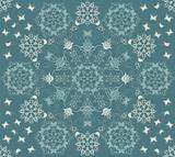 Seamless green flowers and butterflies pattern