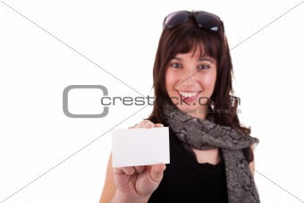 beautiful woman person with blank business card in hand