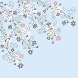 Cute light blue floral background