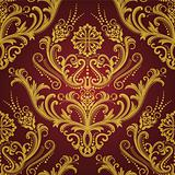 Luxury red &amp; gold floral damask wallpaper
