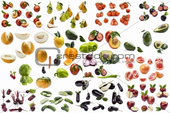 Food on white background close up