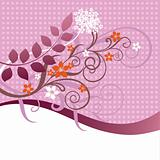 Pink and orange floral ornament