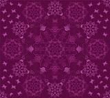 Seamless purple flowers and butterflies pattern