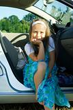 Girl sitting in car