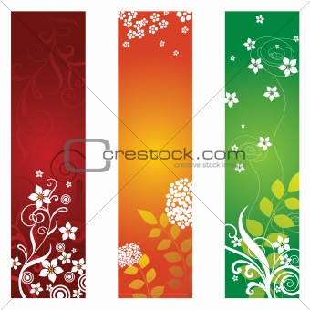 Three beautiful floral banners