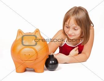 Little girl exploding piggy bank