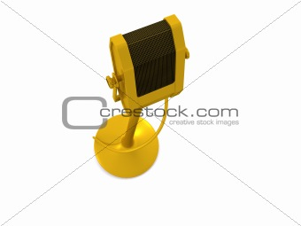 single golden microphone