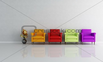 four colored armchair