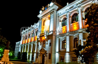 Cuza University by night, Iasi, Romania