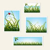 Stamps with grass, vector
