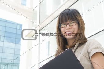 asian business women smiling