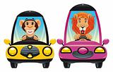 Animals in the car: Monkey and Lion.