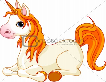 Beautiful unicorn with red mane and tail