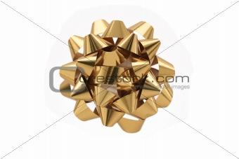 Gold Gift Bow Over White Background