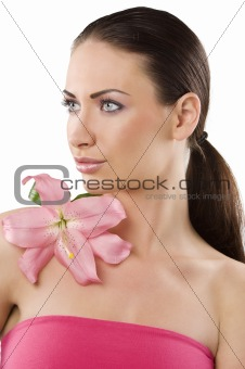 portrait with pink lily