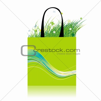 Green grass in bag, ecology