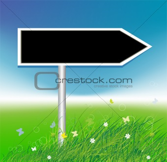 Arrow on green field background, place for your text