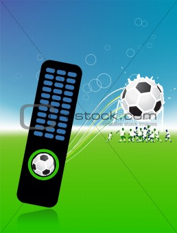 Football players on field, soccer ball and control console