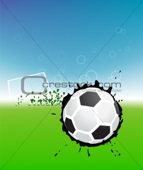 Football players on field, soccer ball
