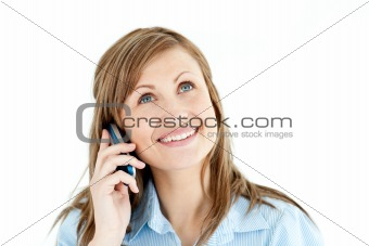 Charismatic businesswoman talking on phone