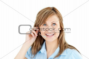 Bright businesswoman talking on headphones