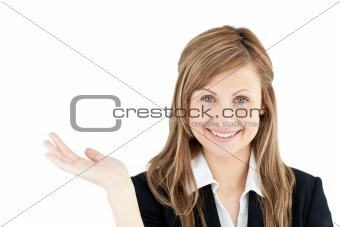 Animated businesswoman smiling at the camera