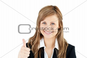 Animated young businesswoman with thumb up smiling at the camera