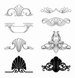 Corner ornament and floral element vector set