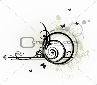 Grunge butterfly and floral elements. Vector