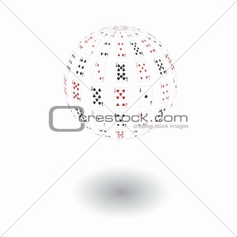 3d a sphere from playing cards. Vector illustration