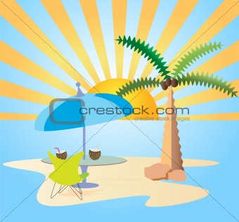 Beach resorts vector frame background