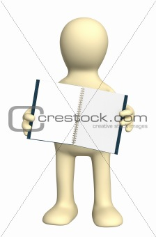 3d puppet with a notebook