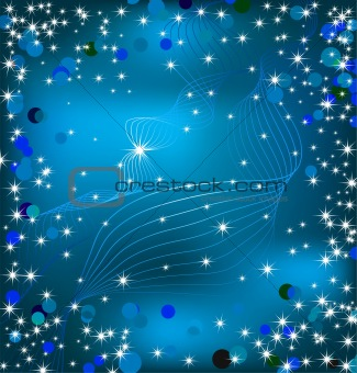 Blue background with sparkles. Vector