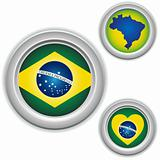 Brazil Buttons with heart, map and flag