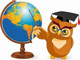 Cartoon Wise Owl with world globe