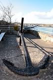 anchor on display in irish seaside town