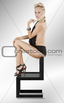 the balck chair ans sexy woman
