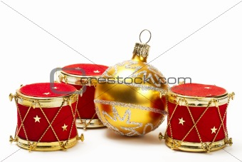christmas ball and red drum ornaments