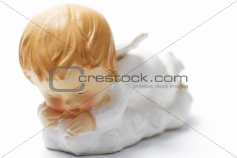 sleeping christmas angel with soft focus