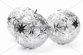 three metal christmas balls